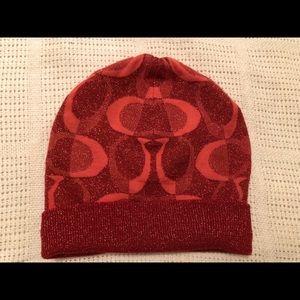 EUC Coach Pink Wool Knit Hat